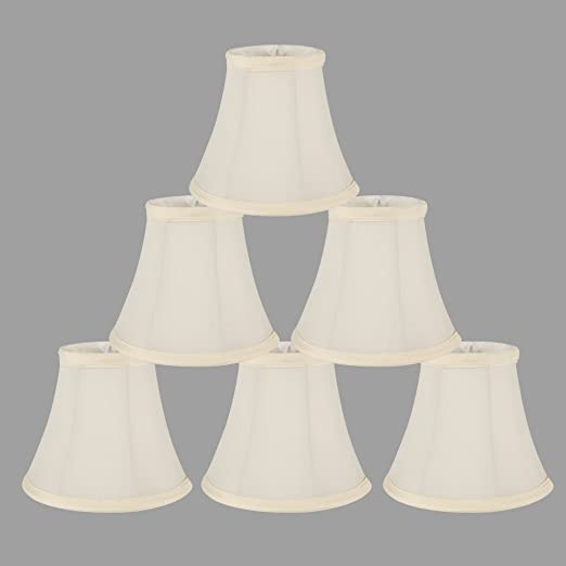 Onepre cream linen clip on lamp shades small candle chandelier onepre cream linen clip on lamp shades small candle chandelier lampshade bell 6 inch set aloadofball Choice Image