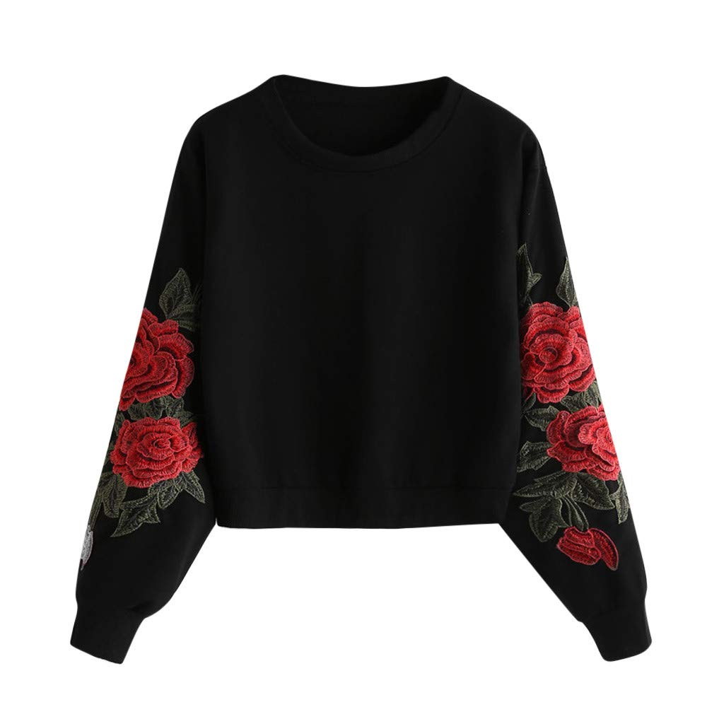Women Hoodie Pullover, Women's Roses Embroidery Applique Stripe Long Sleeve Sweatshirt O-Neck Top Blouse(Black,XL)