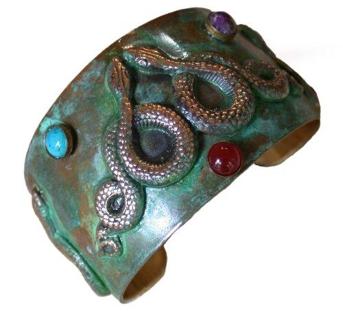 Egyptian Serpents Cuff Bracelet - Carnelian, Charoite, Turquoise - Bracelets Snake Turquoise