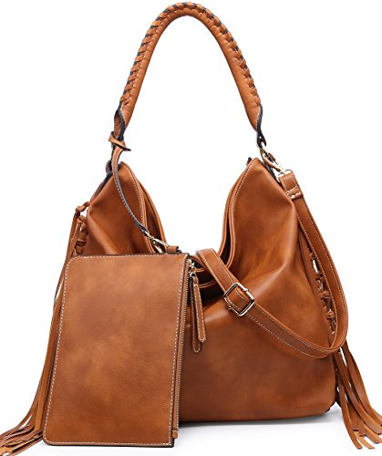 Shomico Womens Shoulder Bag Hobo Purse Crossbody Fringe Handbag for Ladies Fall Winter Brown (Large, Daisy Tan)