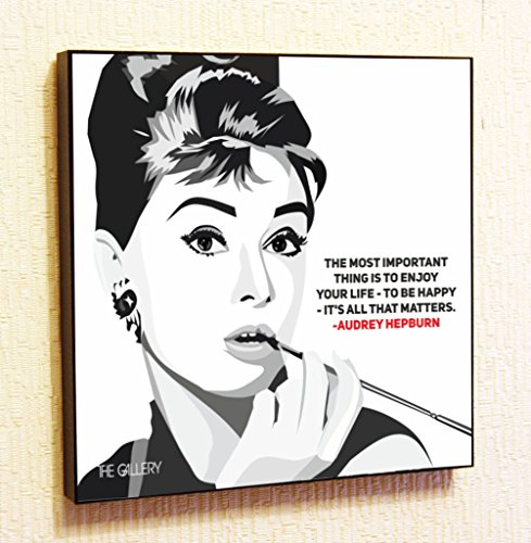 Audrey Hepburn Decor Motivational Quotes Wall Decals Pop Art Gifts Portrait Framed Famous Paintings on Acrylic Canvas Poster Prints Artwork Geek Decor Wood (10x10