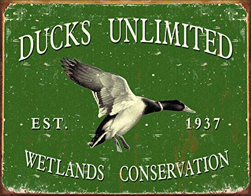 Desperate Enterprises Ducks Unlimited Est. 1937 Wetlands Conservation Tin Sign, 16