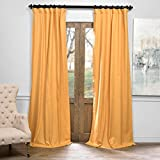 Mustard Yellow Curtains Half Price Drapes PRCT-BO05B-84 Solid Cotton Blackout Curtain, 50 x 84, Spicy Mustard