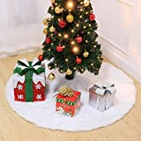 LUOEM Faux Fur Christmas Tree Skirt 47.2 inches Snow White Soft Plush Tree Skirt Ornaments Xmas Tree Skirts for Christmas New Year Holiday Home Party Decoration (120cm)