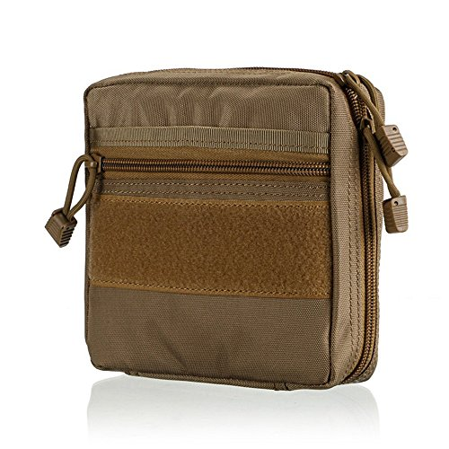 IOKHEIRA Military Tactical Medical First Aid Kit Pouch Outdoor Portable Backpack Waterproof Combat Toolkit bag Multi-functional MOLLE Daypack Case 600D Nylon (Brown-stlye 2)