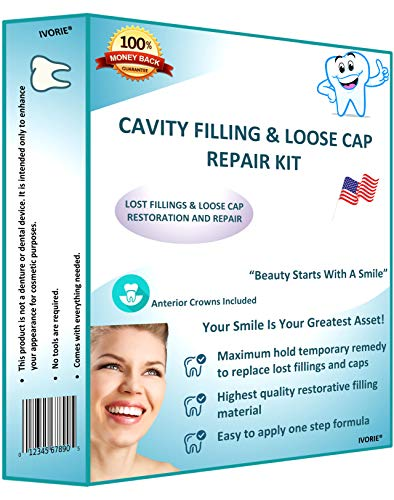 IVORIE Home Dental Restoration Cavity Filler Filling Loose Cap Crown Repair Kit DIY Cavity Filler Dental Tool and and Anterior Crowns