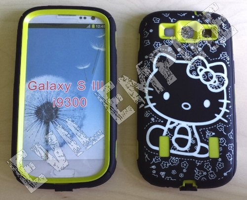 EEA  3 Piece Silicone Hello Kitty Hybrid High Impact Case For Samsung Galaxy S3 III i9300 (Lime Green) (S3 Green Samsung Case Galaxy Lime)