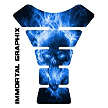Explode Skull Blue Motorcycle sportbike Tank Pad Protector guard gel decal