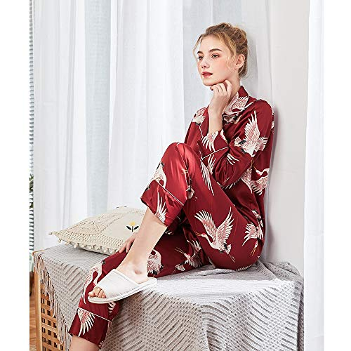 Cardigan Manga De Servicio Pijamas Encaje Vestido Camisa Sexy Red color Novia Larga Tamaño Pantalones Mujer Hogar Lujo Impresos Bata Para m Red xl L Zqx7rqYz