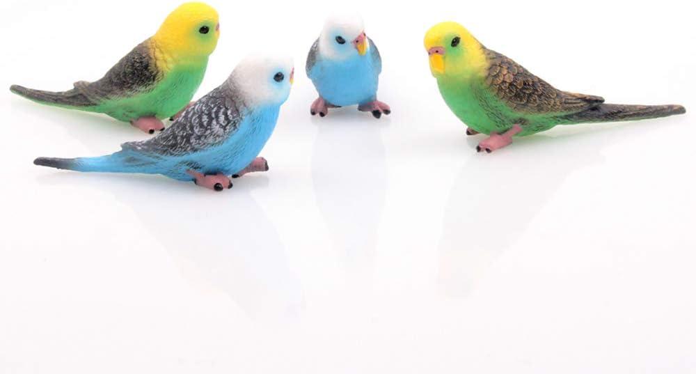 TangTanger 4 pcs Bird Decorative Figurines, Mini Cute Parrot Bird Animal Model Toys Home Decor Garden Cake Decoration