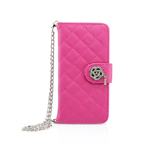 iPhone 6 case, GEARONIC TM Luxury Magnetic Bling Wristlet handbag Flip Leather Cover Hard Skin Pouch Holder Wallet Case Cover for Apple iPhone 6 - Hot Pink