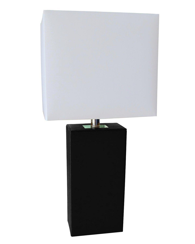 Elegant Designs LT1025-BLK Modern Genuine Leather Table Lamp ...
