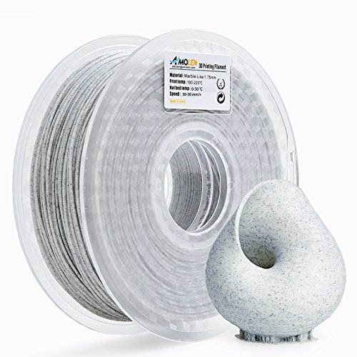 AMOLEN 3D Printer Filament, Marble Color 1.75mm PLA Filament +/- 0.03 mm, 1KG/2.2LB, Includes Sample Silk&Bronze Filament - 100% USA