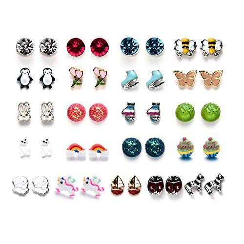 OAONNEA 30 Pairs Stainless Steel Multiple Cute Animals Heart Moon Star Crystal Cross Pearl Ball Small Hoops Stud Earrings Set for Women Girls (21-Packs Earrings)