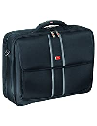 Mancini Rfid Secure Double Compartment 17.3-Inch Briefcase for Laptop and Tablet, Black, Under Seat