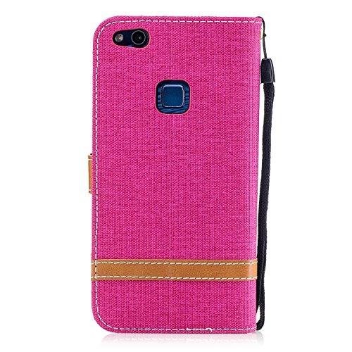 Para Huawei P10 funda, (Vaquero rosa roja) Dril de algodón de colores mezclados caja del teléfono móvil de cuero PU Leather cubierta Función de Soporte Billetera con Tapa para Tarjetas correa de mano  Vaquero rosa roja