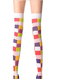 501005047 Ladies/Womens/Kids Coloured Squares on a white background over the knee  socks