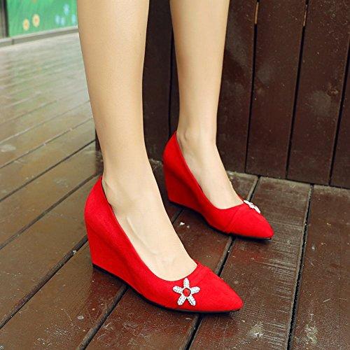 Keilabsatz Strass Nubukleder Shoes Damen Pumps Mee Rot 0q1OE8HnW