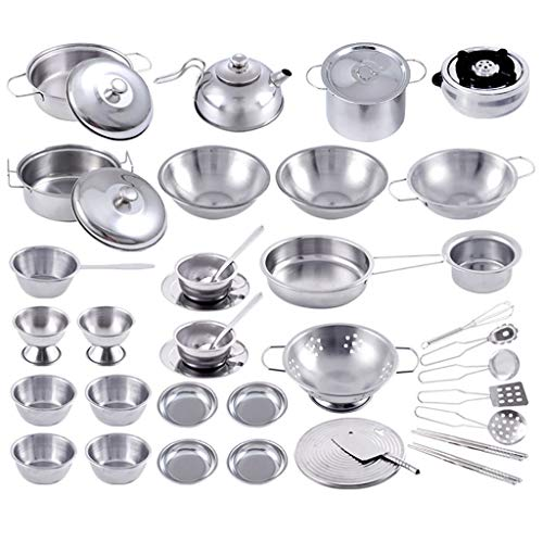 Vertily 40Pcs Vintage Kitchen Cookware Set Kids Play House Kitchen Toys Cookware Cooking Utensils Pots Pans Gift Early Age Development Educational Pretend Play Food Assortment Set