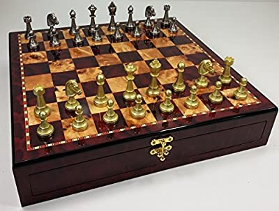 "ITALFAMA 70M Real Brass Metal Gold & Silver Color Floral Staunton Chess Men Set W/ 17"" High Gloss Cherry & Birdseye Maple Color Storage Board"