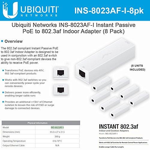Ubiquiti Networks INS-8023AF-I Instant Passive 802.3af Adapter POE Device Indoor (8 Pack) by UBNT