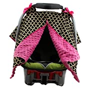 Dear Baby Gear Carseat Canopy, Iron Gate Gold on White, Pink Minky
