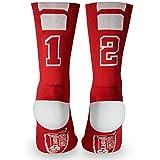 Custom Team Number Crew Socks | Athletic Socks by ChalkTalkSPORTS | Red | 12