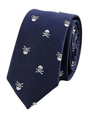 MENDENG Blue Purple Skull Crossbones Necktie Skeleton Halloween Funny Party Tie