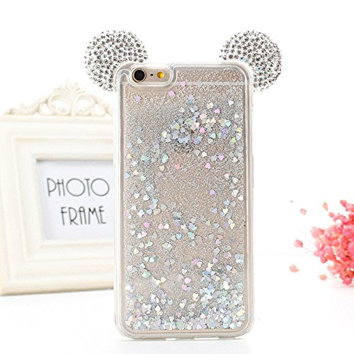 Review For iPhone 7 Plus 5.5″ For iPhone 8 Plus 5.5″ Floating Holographic Hearts Minnie Mickey Ears Liquid Waterfall Glitter Quicksand Disney Back Cover Case