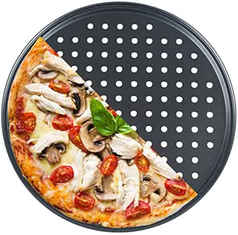 Mesh 12 inch Pizza Pan with Holes Nonstick Carbon Steel Baking Pan(pack of 1)