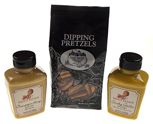 Garlic Mustard (Pretzels with Champagne Honey & Smoky Garlic Mustard Gift Set Bundle)