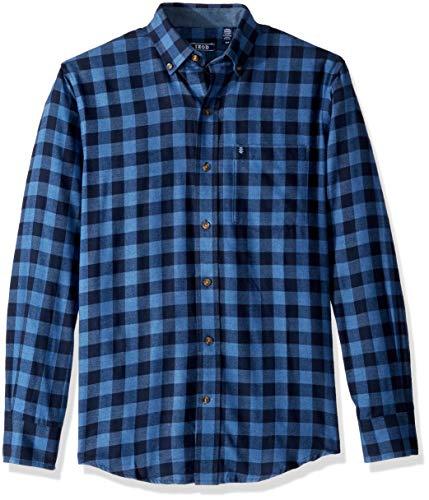 IZOD Men's Stratton Long Sleeve Button Down Check Flannel Shirt, Cobalt Blue, - Flannel Izod