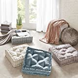 Intelligent Design Azza Poly Chenille Square Floor Pillow Cushion Aqua 20x20