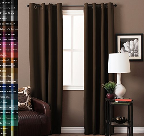 TURQUOIZE Pair(2 Panels) Solid Blackout Drapes, Seal Brown, Themal Insulated, Grommet/Eyelet Top, Nursery/Living Room Curtains Each Panel 52