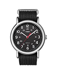 Timex Weekender 38mm Unisex Reloj, Weekender Reloj de pulsera deslizable con correa de nailon, Negro, Talla única