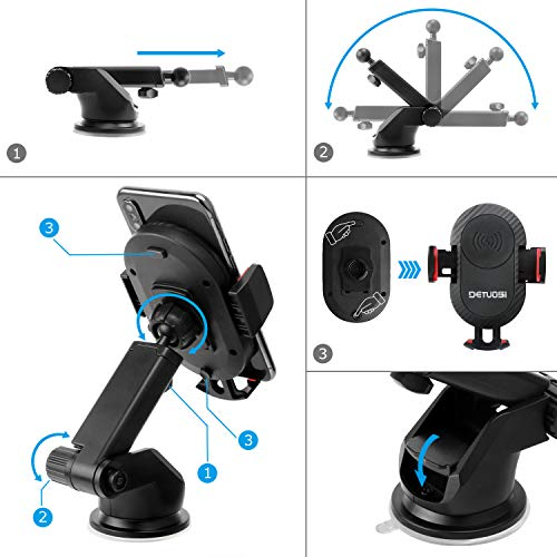 10W Wireless Car Charger, Detuosi Car Wireless Charger Car Phone Mount, Fast Charge for Samsung Galaxy S9/S8 plus/S8/S7/S6 Note 8/5, Standard Charge for iPhone X/8/8 Plus and all Qi Enabled Phones by DBNICE (Image #2)