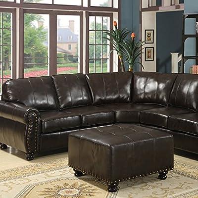 Baxton Studio Hammond Leather Modern Sectional Sofa - Brown
