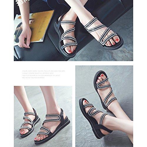 Suela Cómoda Inferior Casual Negro Banda Verano Femeninas Suave Rhinestone de Zapatos Piso Sandalias Mujeres Estudiante Sandalias Elástica de Abierta Zapatos Playa de Las Punta RUqTwSXxWn