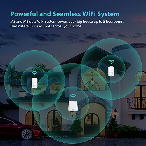 MeshForce Whole Home Mesh WiFi System M3 Suite (1 WiFi Point + 2 WiFi Dot) - Dual Band WiFi System Router Replacement and Wall Plug Extender - High Performance Wireless Coverage for 5+ Bedrooms Home by MeshForce (Image #1)