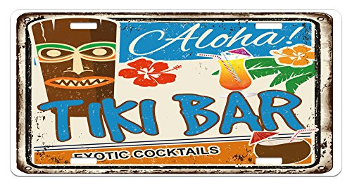 (Ambesonne Tiki Bar License Plate, Rusty Vintage Sign Aloha Exotic Cocktails and Coconut Drink Antique Nostalgic, High Gloss Aluminum Novelty Plate, 5.88 L X 11.88 W Inches, Multicolor)