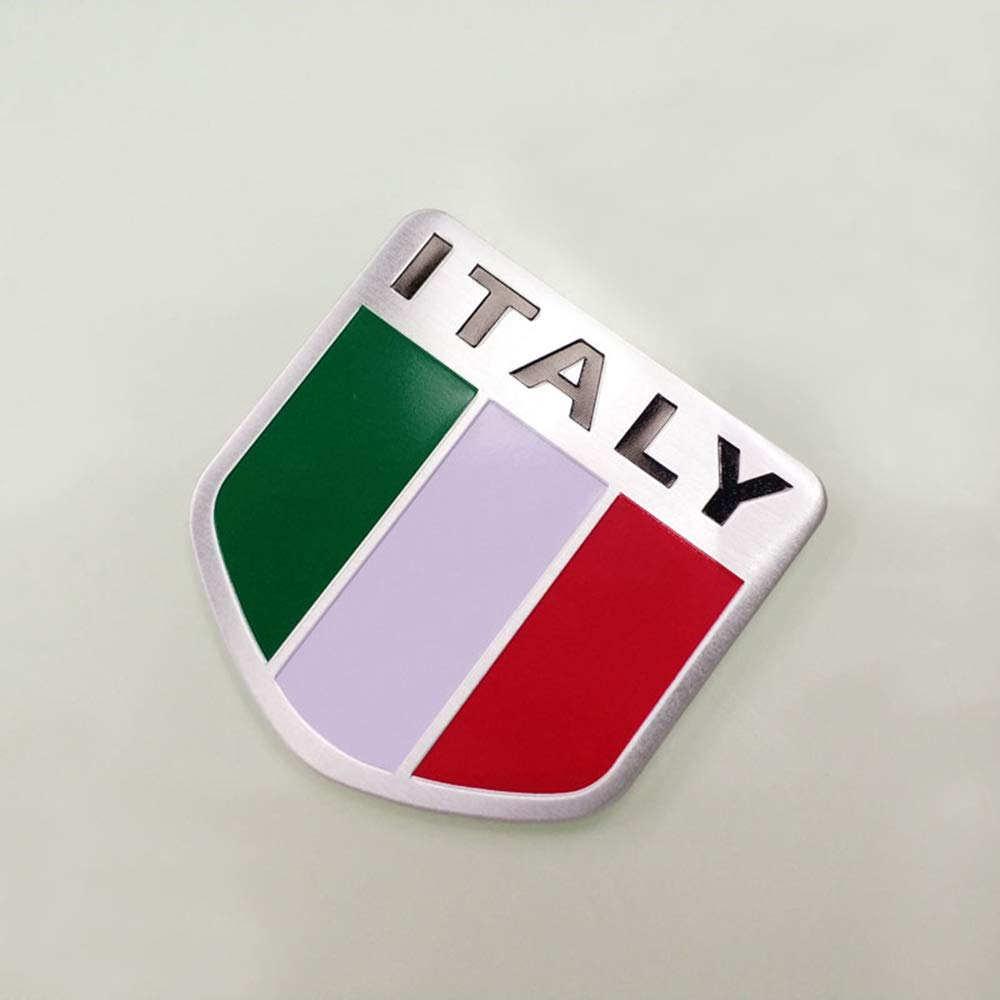 Ogquaton 1 UNIDS Etiqueta Engomada del Coche Bandera de Italia Patr/ón de la Placa de Aluminio Etiqueta Engomada del Coche Etiqueta Engomada del Coche Ideal para Vestirse Uso del Coche