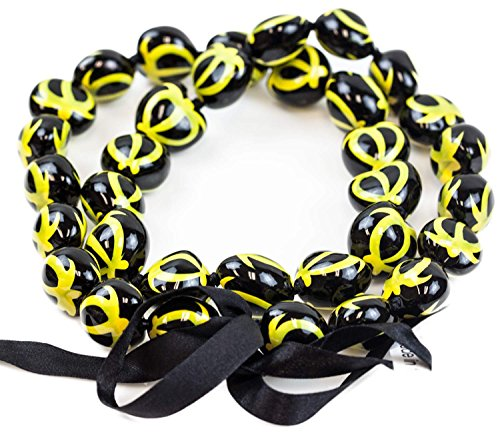 Barbra Collection Hawaiian Style Kukui Nut Lei Hand Painted Yellow Turtle 32 Inches