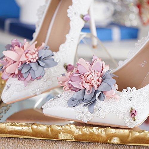 Crystal 5 Photo 10 Bridal Korean VIVIOO Shoe Lace Flower Rhinestone Shoes 5 Shoes Prom Heels Wedding 11Cm Wedding Shoes Sandals White Women'S Princess New Heel Heel 148wIx74q