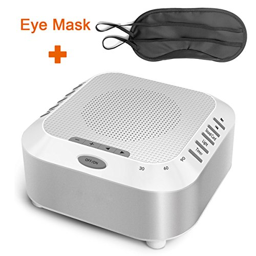 (Natural Sound Machine - Rantizon Sleep Therapy Machine with 5 Nature Sounds, Timer Option, Micro-SD Card MP3 Playing Music, Night Light, Rechargeable, Portable White Noise Sound Speaker +Free Eye Mask)