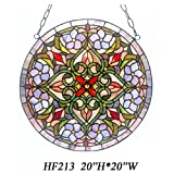 HF-213 Tiffany Style Stained Church Art Glass Pastoral Decorative Snowman Round Window Hanging Glass Panel Suncatcher, 20''H20''W