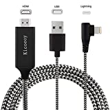 Compatible with iPhone iPad to HDMI Adapter Cable - Kicoeoy 6.6ft Digital AV Adapter 1080P HD TV Connector Cord Compatible with iPhone Xs Max XR 8 7 6Plus 5 iPad iPod to TV Projector Monitor