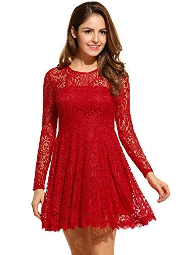 ANGVNS Women Elegant Round Neck Long Sleeve Lace Fit and Flare Business Dress, Red, S