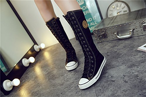 Dancing High Shoes Shoe Dress Shoes Black Side Jackdaine Punk Zipper Side Canvas Cannon Canvas vAxw7wq5