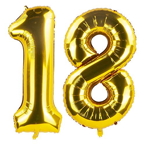 Tim&Lin 40 inch Gold 18 Number Jumbo Foil Mylar Helium Balloons - Party Decoration Supplies Balloons - Great for Wedding, Birthday, Graduation, or Any Anniversary Parties Events