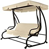 Palm Springs 3 Person Converting Patio Porch Swing Chair with Cushions / Futon